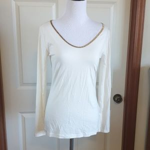 NWT ANN TAYLOR cream gold soft long sleeve shirt